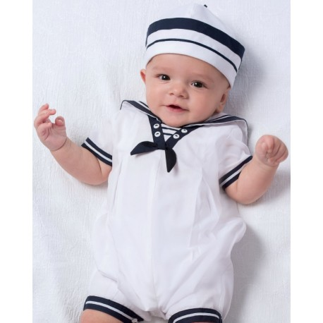 Sarah Louise Christening Sailor White & Navy Romper with Hat Style 010813