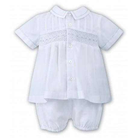 Sarah Louise Christening 2 Piece Set in White & Blue Style 010696