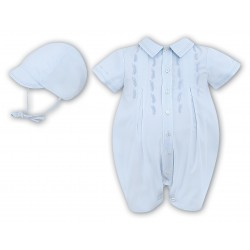 Sarah Louise Special Occasion Romper with Bonnet in Blue Style 010693
