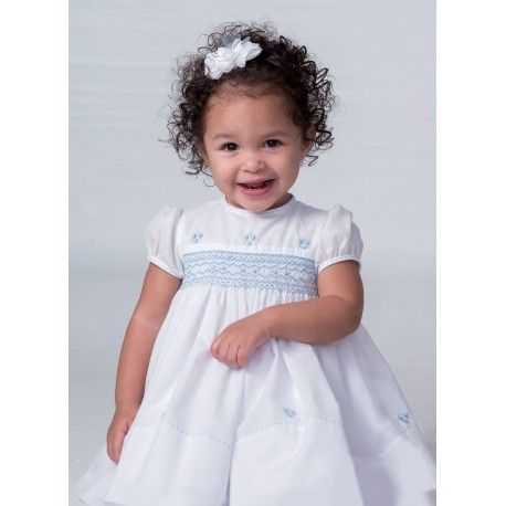 Sarah Louise Christening / Special Occasion Dress in White & Blue Style 010683