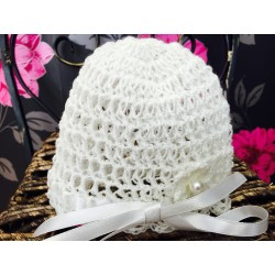 White Baby Girl Handmade/Crochet Hat with Flower