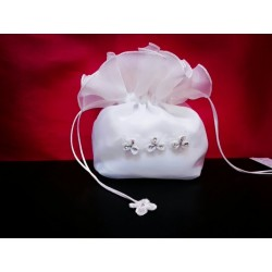 White Commuion Bag with Three Flowers style 5305