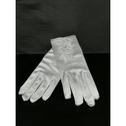 Shining Satin Communion Gloves with Pearls style 776