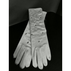 Shining Long Richly Decorated Satin Communion Gloves style 783