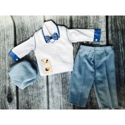 Unusual White and Blue Baby Boy Outfit with Blue Cuffs style MarcelCuffs