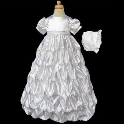 White Satin Richly Decorated Baby Girl Christening Gown by River Oak style: D9025C