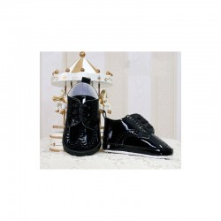 Baby Boys Black Leather Christening/Wedding/Pram/ Formal Party Shoes Style 4143/158