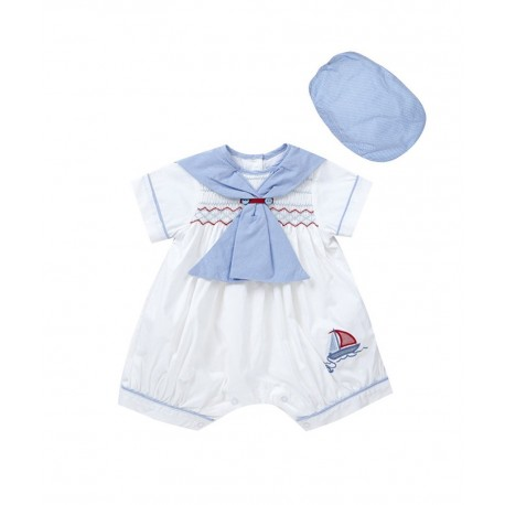 Sailor Special Occasion Baby Boy White / Sky Romper and Bonnet Style 1735