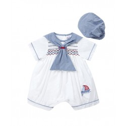 Sailor Special Occasion Baby Boy White / Navy Romper and Bonnet Style 1735