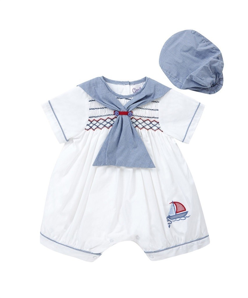 dc5138cb570ae Sailor Special Occasion Baby Boy White / Navy Romper and Bonnet Style 1735