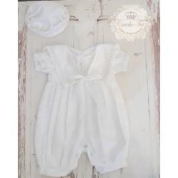 Baby Boy White Christening Romper style CHR502