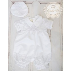 White Vintage Style Embroidered Christening Romper style 14085