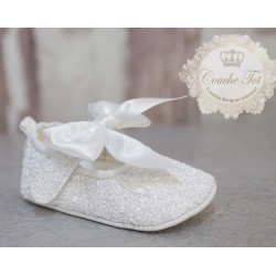Lovely Glitter Baby Girls Christening/Special Occasion White Shoes style Mary Jane Crystal