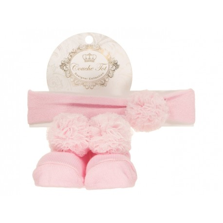 Pink Baby Girl Socks and Headband Set with Cute Pompons style 3570