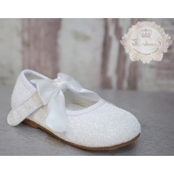 White Glitter Leather Special Occasion Shoes style Mary Jane Bow