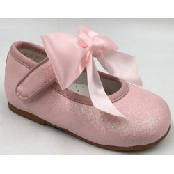 Pink Glitter Leather Special Occasion Shoes style Mary Jane Bow