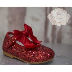 Red Glitter Leather Special Occasion Shoes style Mary Jane Bow