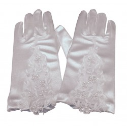 White Communion Gloves with Lace and Pearls stye CG772