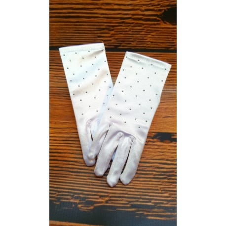 White First Holy Communion Gloves with Beads Style CG782
